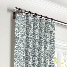 Blue Ogee Block Print Curtains with Pocket Close Up