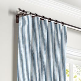 Blue Ticking Stripe Curtains with Pocket Close Up