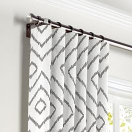 White & Gray Diamond Curtains with Pocket Close Up