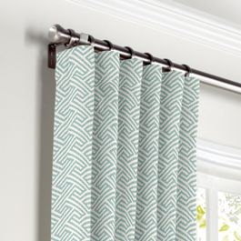 Aqua Geometric Maze Curtains with Pocket Close Up