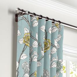 Modern Aqua Floral Curtains with Pocket Close Up