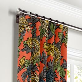 Red Chinoiserie Dragon Curtains with Pocket Close Up
