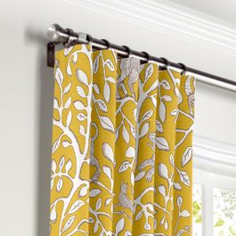 Yellow Animal Motif Curtains with Pocket Close Up
