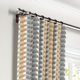 Mod Gray & Orange Geometric Curtains with Pocket Close Up
