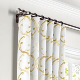 Embroidered Light Yellow Chain Curtains with Pocket Close Up