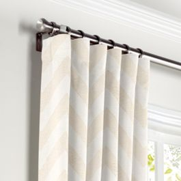 Metallic White & Gold Chevron Curtains with Pocket Close Up