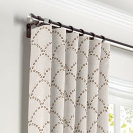 Embroidered Taupe Scallop Curtains with Pocket Close Up