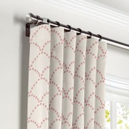 Embroidered Pink Scallop Curtains with Pocket Close Up