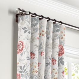 Pink & Gray Lotus Flower Curtains with Pocket Close Up
