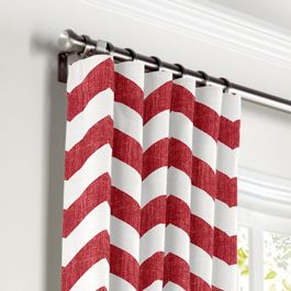 White & Red Chevron Curtains with Pocket Close Up