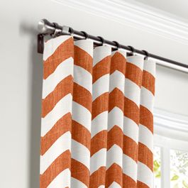 White & Orange Chevron Curtains with Pocket Close Up