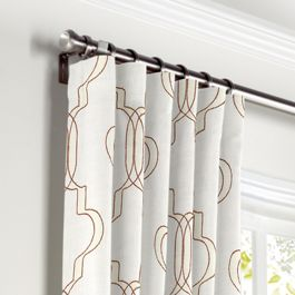 Embroidered Gold Trellis Curtains with Pocket Close Up