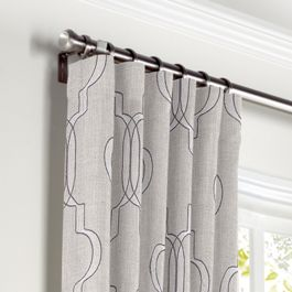 Embroidered Gray Trellis Curtains with Pocket Close Up