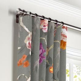 Painterly Pink & Gray Floral Curtains with Pocket Close Up