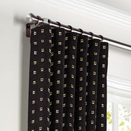 Gold Studded Black Curtains with Pocket Close Up