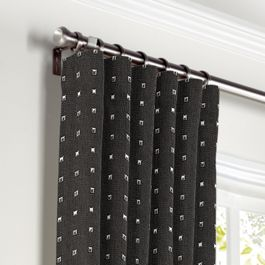 Silver Studded Charcoal Curtains with Pocket Close Up