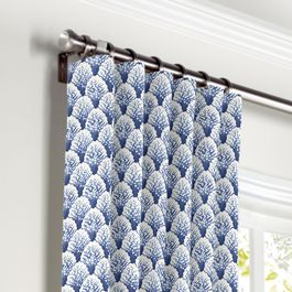 Nautical Blue Scallop Curtains with Pocket Close Up