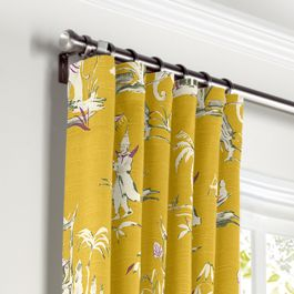Purple & Yellow Chinoiserie Curtains with Pocket Close Up