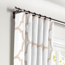 Light Beige Quatrefoil Curtains with Pocket Close Up
