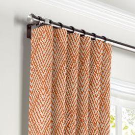 Tribal Orange Diamond Curtains with Pocket Close Up