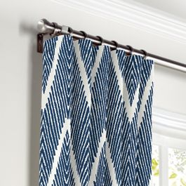 Tribal Navy Blue Chevron Curtains with Pocket Close Up