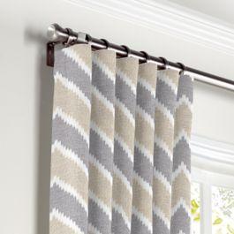 Tan & Gray Chevron Curtains with Pocket Close Up