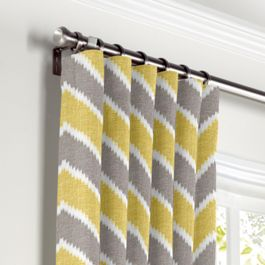 Gray & Yellow Chevron Curtains with Pocket Close Up