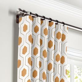 Beige & Orange Hexagon Curtains with Pocket Close Up