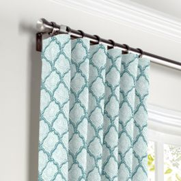 Aqua Blue Block Print Curtains with Pocket Close Up