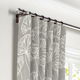 Gray Fan Leaf Curtains with Pocket Close Up
