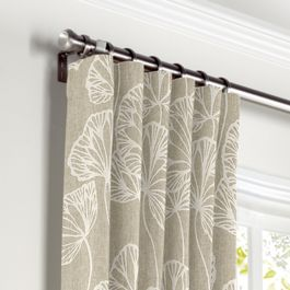 Beige Fan Leaf Curtains with Pocket Close Up