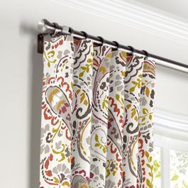 Stenciled Red & Gray Paisley Curtains with Pocket Close Up