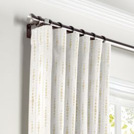 Embroidered Tan Dotted Line Curtains with Pocket Close Up