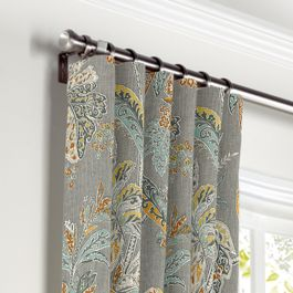Intricate Gray Floral Curtains with Pocket Close Up