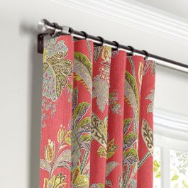 Intricate Pink Floral Curtains with Pocket Close Up