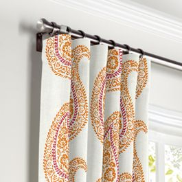 Orange & Pink Paisley Curtains with Pocket Close Up