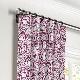 Seafoam & Purple Scallop Curtains with Pocket Close Up