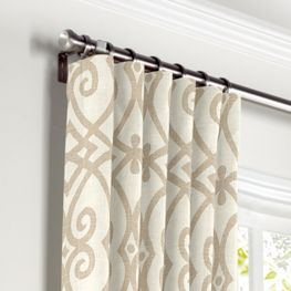 Tan Scroll Trellis Curtains with Pocket Close Up