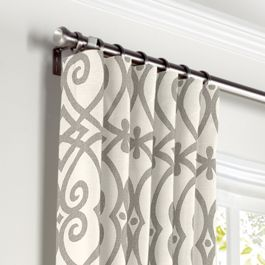 Gray Scroll Trellis Curtains with Pocket Close Up