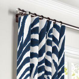 Blue Zebra Print Curtains with Pocket Close Up