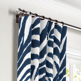 Blue Zebra Print Curtains with Pocket Close Up
