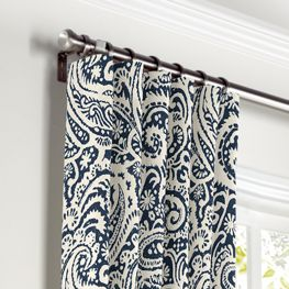 Navy Blue Paisley Curtains with Pocket Close Up