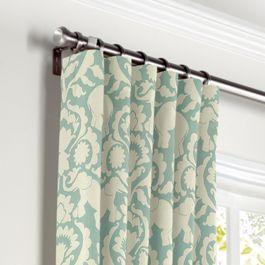 Aqua Blue Elephant Curtains with Pocket Close Up