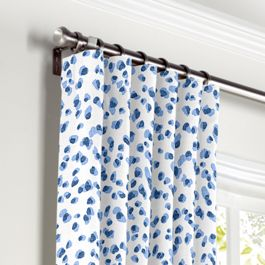 Blue Leopard Print Curtains with Pocket Close Up