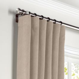 Light Beige Velvet Curtains with Pocket Close Up