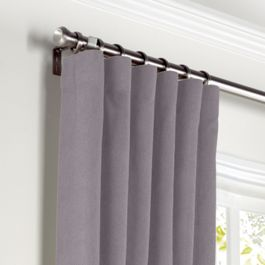 Lavender Gray Velvet Curtains with Pocket Close Up