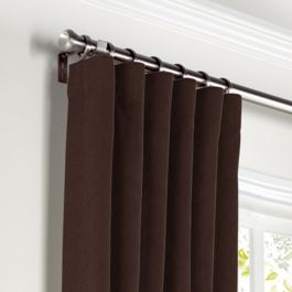 Chocolate Brown Velvet Curtains with Pocket Close Up