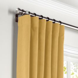 Golden Tan Velvet Curtains with Pocket Close Up