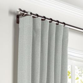 Heathered Light Gray Woven Blend Curtains with Pocket Close Up