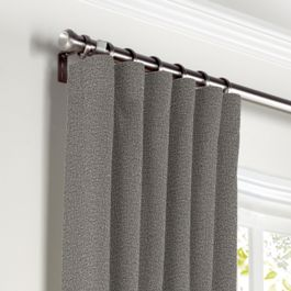 Heathered Gray Woven Blend Curtains with Pocket Close Up